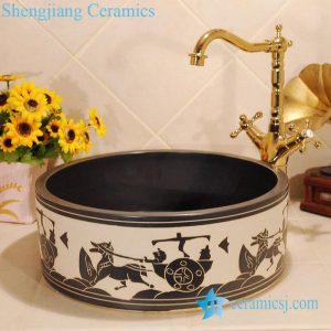 ZY-0028 Black round solid color antique bathroom sink bowl