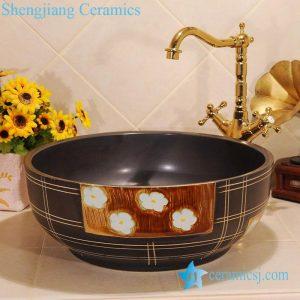 ZY-0030 Hand carving black solid color matt finished round ceramic sink bowl