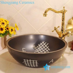 ZY-0031 Black hand carving round solid color unique corner sink