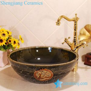ZY-0033 Hand carving brown color ceramic small sink