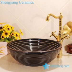 ZY-0036 Coffee color glaze solid color round ceramic basin