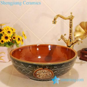 ZY-0037 Antique hand carving round ceramic bathroom sink