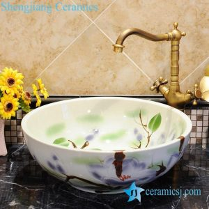 ZY-0041 Colored floral pattern porcelain large basin
