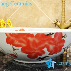 ZY-0042 Red floral pattern round chinaware wash basin
