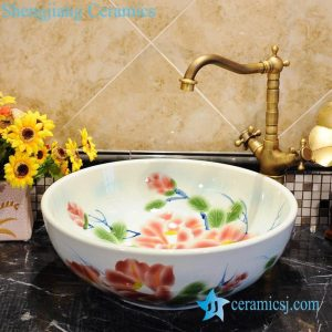 ZY-0045 Hot sale colored peony flower shiny surface round table mount hair wash basin