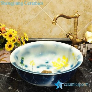 ZY-0048 Blue round cabinet top fancy water lily pattern colored toilet ceramic bowl