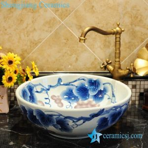 ZY-0053 Blue and white grape pattern porcelain ceramic small wash basin
