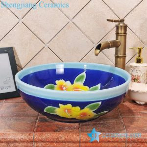 ZY-0057 Round blue ceramic antique ceramic enameled sink
