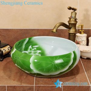 ZY-0061 Green round table top ceramic cheap small washbasins