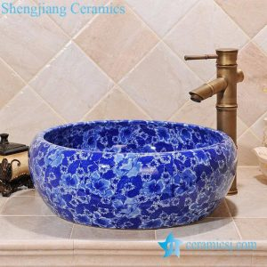 ZY-0062 Blue and white floral pattern porcelain sink for bathroom
