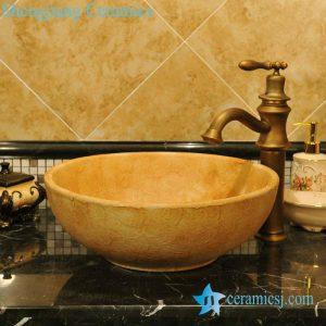 ZY-0065 Yellow round earthen ware cheap small washbasins