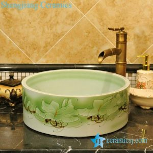 ZY-0067 Green round porcelain fancy wash basin