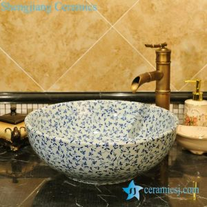 ZY-0068 Blue and white round ceramic kitchen basin
