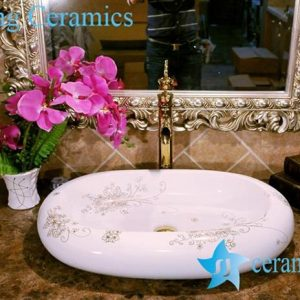 ZY-0071 Oval egg shape gold gilded bouquet pattern ceramic wash basin in india