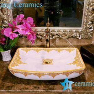 ZY-0072 Rectangular shallow court style palace level ceramic bathroom sanitary sets