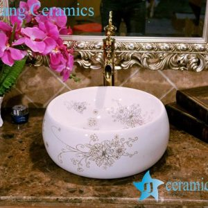 ZY-0073 Bird nest shape round golden bouquet pattern vitreous china corner wash basin