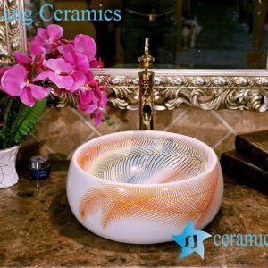 ZY-0075 Plume pattern round ceramic wash basin types