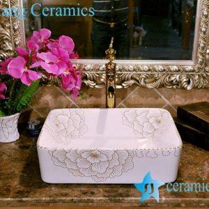 ZY-0079 Golden rim rectangular small size ceramic hand wash sanitary ware