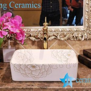 ZY-0081 Rectangular gold gilded floral pattern italian wash basin