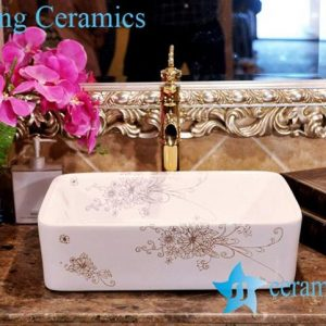 ZY-0085 Golden bouquet pattern rectangular large ceramic household sink basin