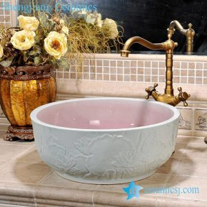 ZY-0088 Hand carved lotus pattern ceramic bathroom porcelain sink
