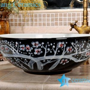 ZY-0089 Plum flower hand painting pattern black ceramic sink bowl