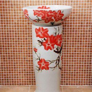 ZY-0090 Hand carved red floral pattern toilet ceramic pedestal sink basin