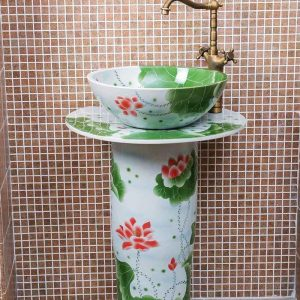 ZY-0091 modern kitchen designs round green lotus flower and leaves porcelain sink basin with high heel stand