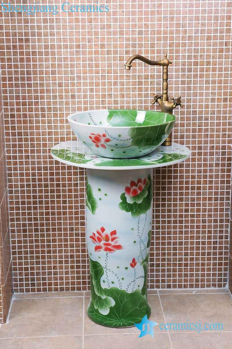 Painting A Porcelain Sink Zy 0091 Modern Kitchen Designs Round Green Lotus Flower And Leaves