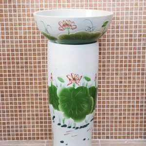 ZY-0094 Chinese sink with hand carved lotus leaves and hand painted lotus flower ceramic pedestal sink basin