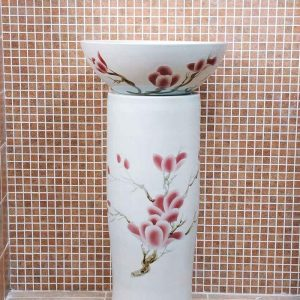 ZY-0095 China bathroom sink supplier factory direct price elegant magnolia flower pattern hotel restaurant sink table, sink pedestal,sink basin