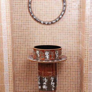 ZY-0096 Chinese sink lowes bathroom vanity hand carved chinese calligraphy style large size sink with pedestal