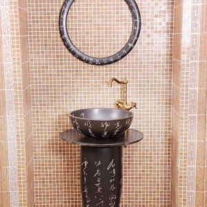 ZY-0097 Artificial stone like wash basin China bathroom sink supplier factory direct price balck solid color ground hand carved outdoor sink table, sink pedestal,sink basin