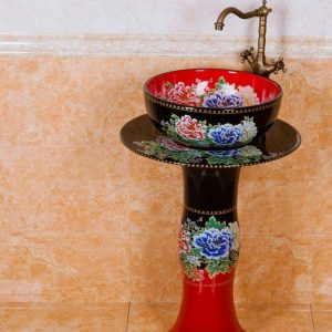 ZY-0100 Middle east style golden plated blue luxury contemporary art ceramic pedestal sink basin