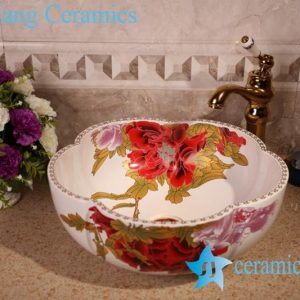 ZY-379A1196 Floral shape irregular shape red flower pattern ceramic counter top vanities sink