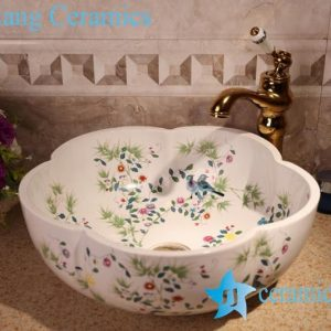 ZY-379A1288 Floral shape bird and flower branch pattern matte finished counter top sink bowl