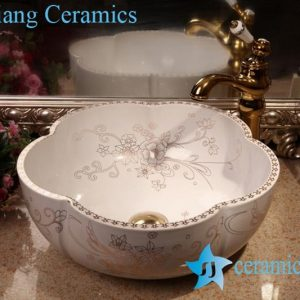 ZY-379A1662 Floral shape cupboard top ceramic sink bowl