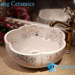 ZY-379A1696 Floral shape porcelain bathroom basin