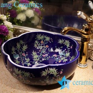 ZY-379A1717 Ceramic flower branch and bird pattern floral shape bathroom corner sink