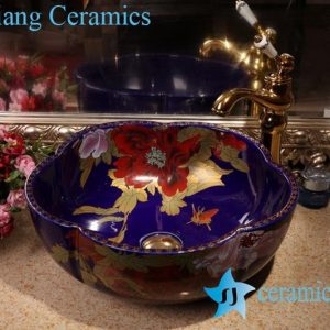 ZY-379A1756 Floral shaped cabinet top porcelain washing bowl