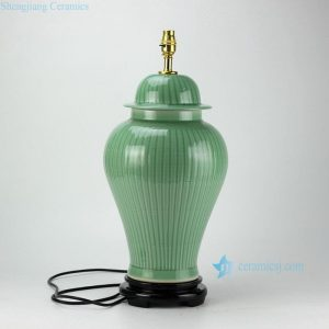 DS36-RYMA Bamboo pattern engraved celadon glazed ceramic table lamp