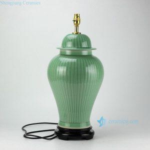 DS36-RYMA Bamboo pattern engraved celadon glazed ceramic table lamp