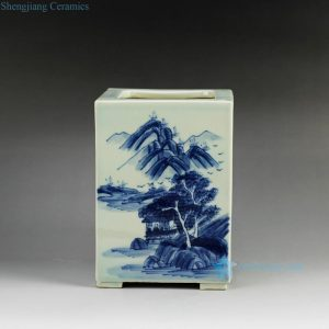 RYCZ09 Blue and white hand painted landscape square ceramic pen holder