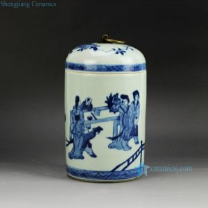 RYCZ10 vintage blue and white tin jar