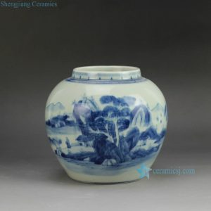 RYCZ11 Hand painted landscape small blue and white urn