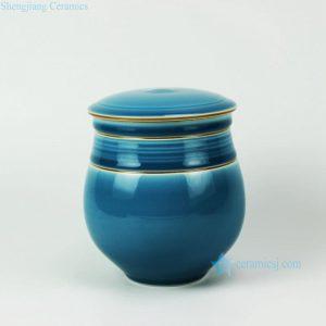 RYDD20 Hand made gold metal line elegance blue color glaze chinese tea jar with lid