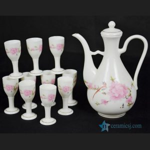 RYGN20-E Famille rose bird and plum blossom pattern liquor set