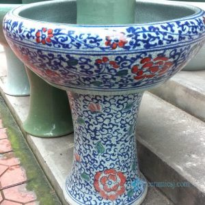 RYHD24-B Colorful blue and white crackled style large ceramic planter and bowl with pedestal