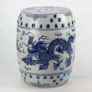 RYLL40 Chinese dragon pattern blue and white ceramic barrel stool
