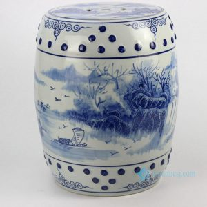 RYLL41 River side boat pattern blue and white chinese porcelain stool